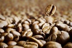 Macro van koffieboon wordt geschoten op de achtergrond die van koffiebonen wordt geworpen Royalty-vrije Stock Foto