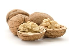 Macro van nutmeat en noten Stock Foto's