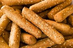 Macro van Sesamzaad Breadsticks Stock Foto's