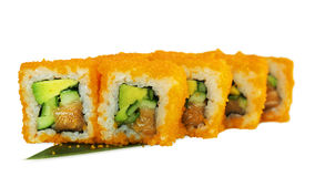 Macro van sushi wordt geschoten die Japans restaurant, sushi, oosterse traditie Stock Afbeeldingen