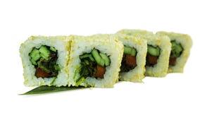 Macro van sushi wordt geschoten die Japans restaurant, sushi, oosterse traditie Royalty-vrije Stock Afbeeldingen