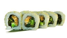 Macro van sushi wordt geschoten die Japans restaurant, sushi, oosterse traditie Stock Afbeelding