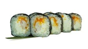Macro van sushi wordt geschoten die Japans restaurant, sushi, oosterse traditie Stock Foto
