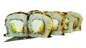Macro van sushi wordt geschoten die Japans restaurant, sushi, oosterse traditie Royalty-vrije Stock Foto's