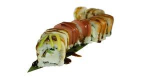 Macro van sushi wordt geschoten die Japans restaurant, sushi, oosterse traditie Stock Fotografie