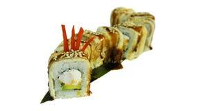 Macro van sushi wordt geschoten die Japans restaurant, sushi, oosterse traditie Stock Foto's