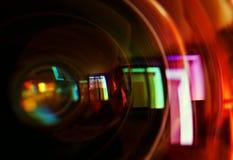 Macro van voorelement van een cameralens die wordt geschoten Royalty-vrije Stock Afbeeldingen