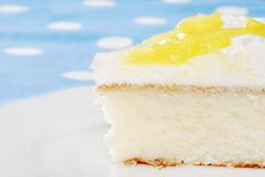Macro vanilla lemon cake Royalty Free Stock Image