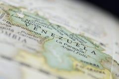 Macro of Venezuela on a globe. Narrow depth of field Royalty Free Stock Photo
