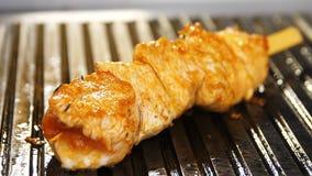 Macro Vers Vlees met Gouden die Korst op Stok bij de Grill wordt voorbereid stock videobeelden