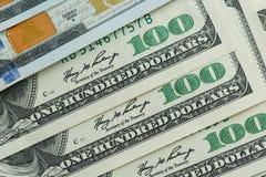 Macro vicina su del fronte del ` s di Ben Franklin sugli Stati Uniti 100 dollari Fotografie Stock Libere da Diritti