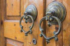 Macro view of antique door handles Royalty Free Stock Photography