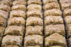 Macro view of baklava from Turkish cuisine.  Stock Image