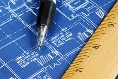 Macro view of the blue print. Close up view of the blue print Royalty Free Stock Image