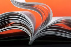 Macro view of book pages. Concept passion and fire. royalty free stock photography