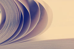 Macro view of book pages. Toned image. Copy space for text Royalty Free Stock Photo