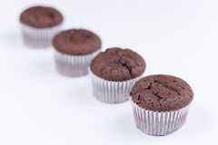 Macro view of chocolate muffin over white Royalty Free Stock Images