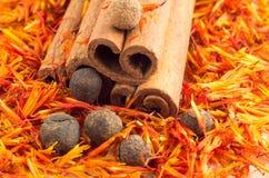 Macro view on cinnamon, peppercorn and saffron Stock Image
