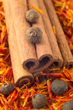 Macro view of the cinnamone, peppercorn and saffron Stock Image