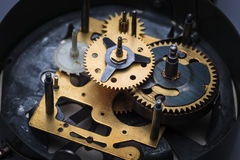 The macro view of clock mechanism Royalty Free Stock Photo