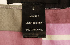 Macro view of the clothing label Stock Images