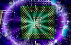 Cpu pins and circuit mother board Stock Images