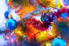 Macro view of decorated Christmas Tree royalty free stock photo