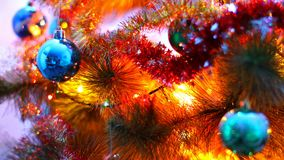 Macro view of decorated christmas tree stock video footage