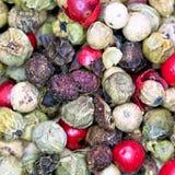 Macro view of diferent peppercorns Royalty Free Stock Image