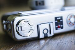 Macro View of Film Rewind Lever and Top of Old Film Camera royalty free stock images