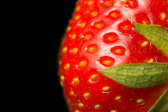 Macro view of fresh strawberry Stock Photos