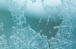 Macro view frozen glass window Royalty Free Stock Images