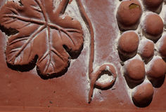 Macro view of grape cluster and vine on terracotta pot Stock Images