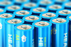 Macro view of the group of blue alkaline AA batteries. Creative abstract 3D render illustration of the macro view of group of blue AA size 1.5 volts alkaline stock illustration