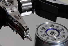 Macro view of hard drive inside Royalty Free Stock Images