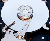 Macro view of hard drive inside Stock Photo