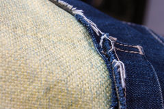 Macro view of Kevlar Fiber and jeans. Friend of all riders Stock Photography