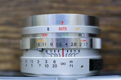 Macro View of Lens Controls on an Old Film Camera royalty free stock photos