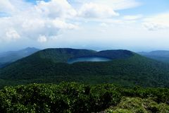 View onto Onami Ike from top of Mt. Karakunidake, highest mountain in Ebino kogen area, Kyushu, Japan. View of Onami Ike Lake Onami from top of Mt. Karakunidake stock photos