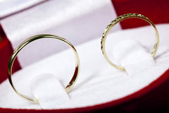 Husband and Wife Wedding Rings. Macro view of a man and woman's wedding rings resting together in their case Stock Photography
