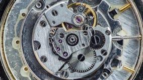 Macro view of mechanism of old watch stock video footage