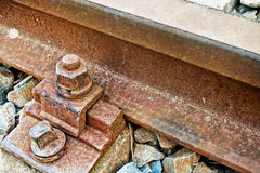 Macro view on metal rusty railway Royalty Free Stock Photography