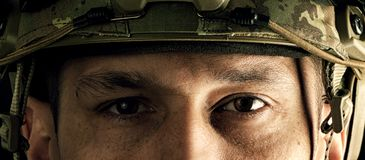 Macro view of military man eyes Stock Images
