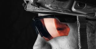 Macro view of military man in glasses Royalty Free Stock Photos