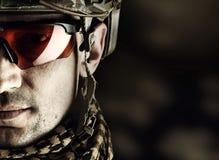 Macro view of military man in glasses Stock Image
