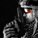 Macro view of military man with gun Royalty Free Stock Photo