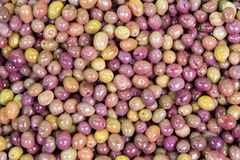 Macro view of olives as background in Spice Bazaar. Istanbul, Turkey Stock Photo