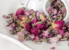 Macro view of organic peach rose herb tea royalty free stock photos