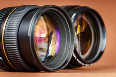 Macro view of photo lens Royalty Free Stock Photography