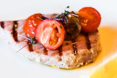 Grilled tuna fish. Macro view of the piece of grilled tuna fish with tomato slices and seasonings royalty free stock photos
